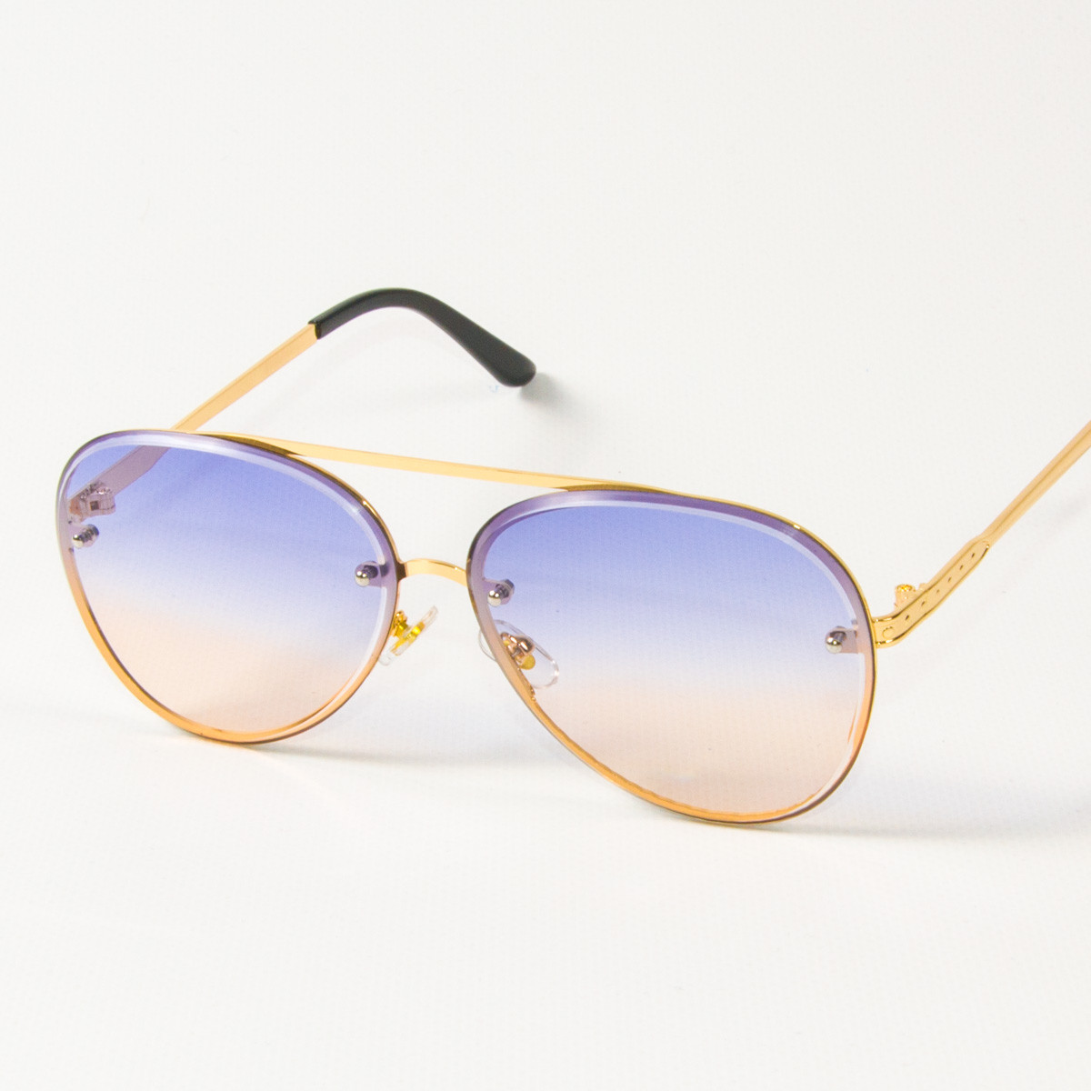 Солнцезащитные очки авиаторы (арт.6247/1) желто-голубые