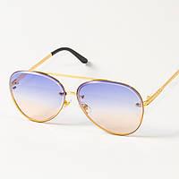 Солнцезащитные очки авиаторы (арт.6247/1) желто-голубые, фото 1