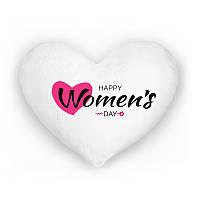 Светящаяся подушка Happy Women's day белая