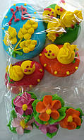 Пасхальное украшение из сахарной  мастики  набор яйца с цыплятами