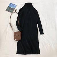Платье вязаное черное