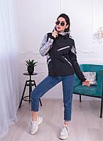 """Демисезонная женская куртка """"Асимметрия"""" с капюшоном и карманами"""