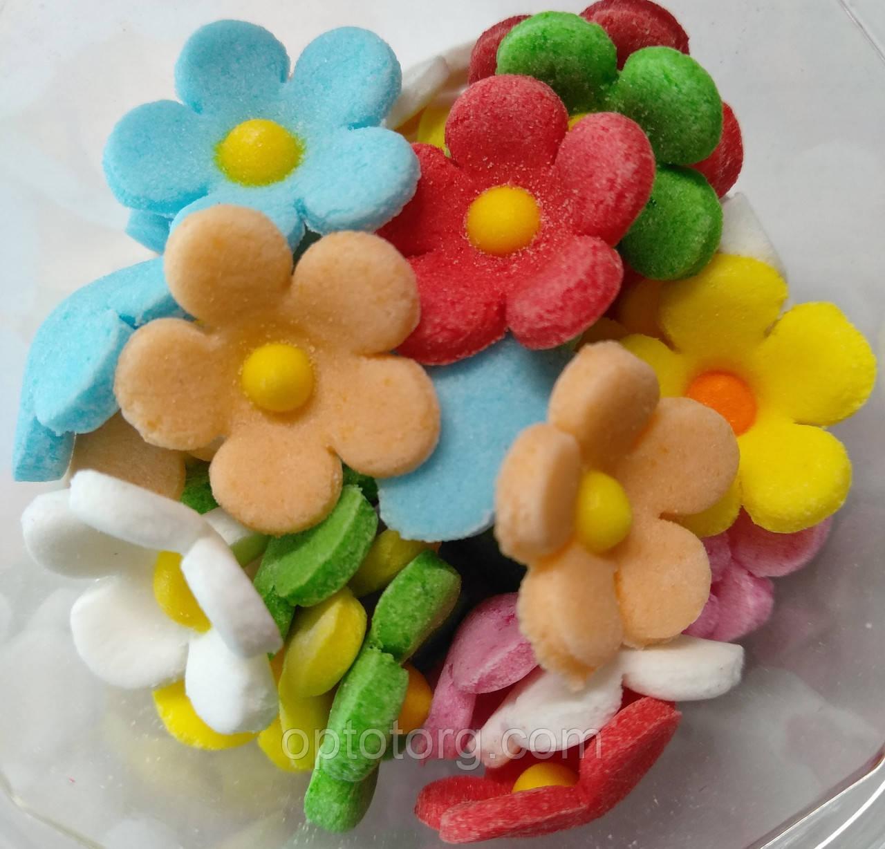 Пасхальное украшение из сахарной  мастики  набор Цветы льна микс