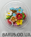 Пасхальное украшение из сахарной  мастики  набор Цветы льна микс, фото 4