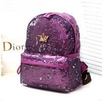 Рюкзак женский городской с фиолеовыми пайетками, фото 1