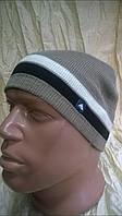 Спортивная вязаная шапка одинарная с небольшим  утеплением цвет бежевый