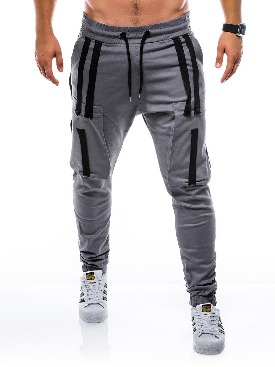Мужские светлые штаны джоггеры с боковыми карманами карго на манжетах Ombre