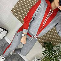 Модные женские ✱Серо-красный✱ спортивные костюмы хорошего качества,трикотажный костюм, костюм с брюками