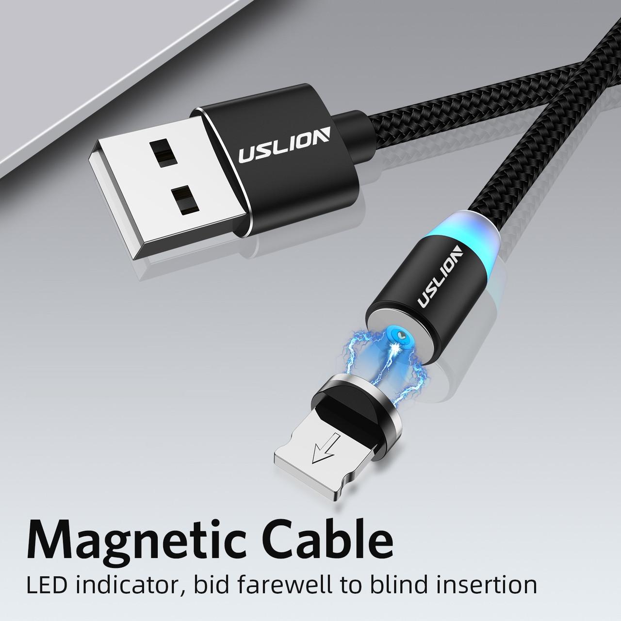 Магнитная зарядка USLION магнитный кабель Iphone (Айфон) Lightning/USB 2A с подсветкой, 1 м