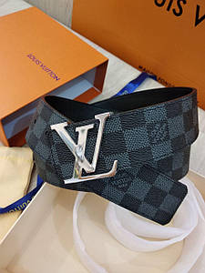 Ремінь Louis Vuitton шкіряний преміум класу в коробці з документами, сіра шахматка