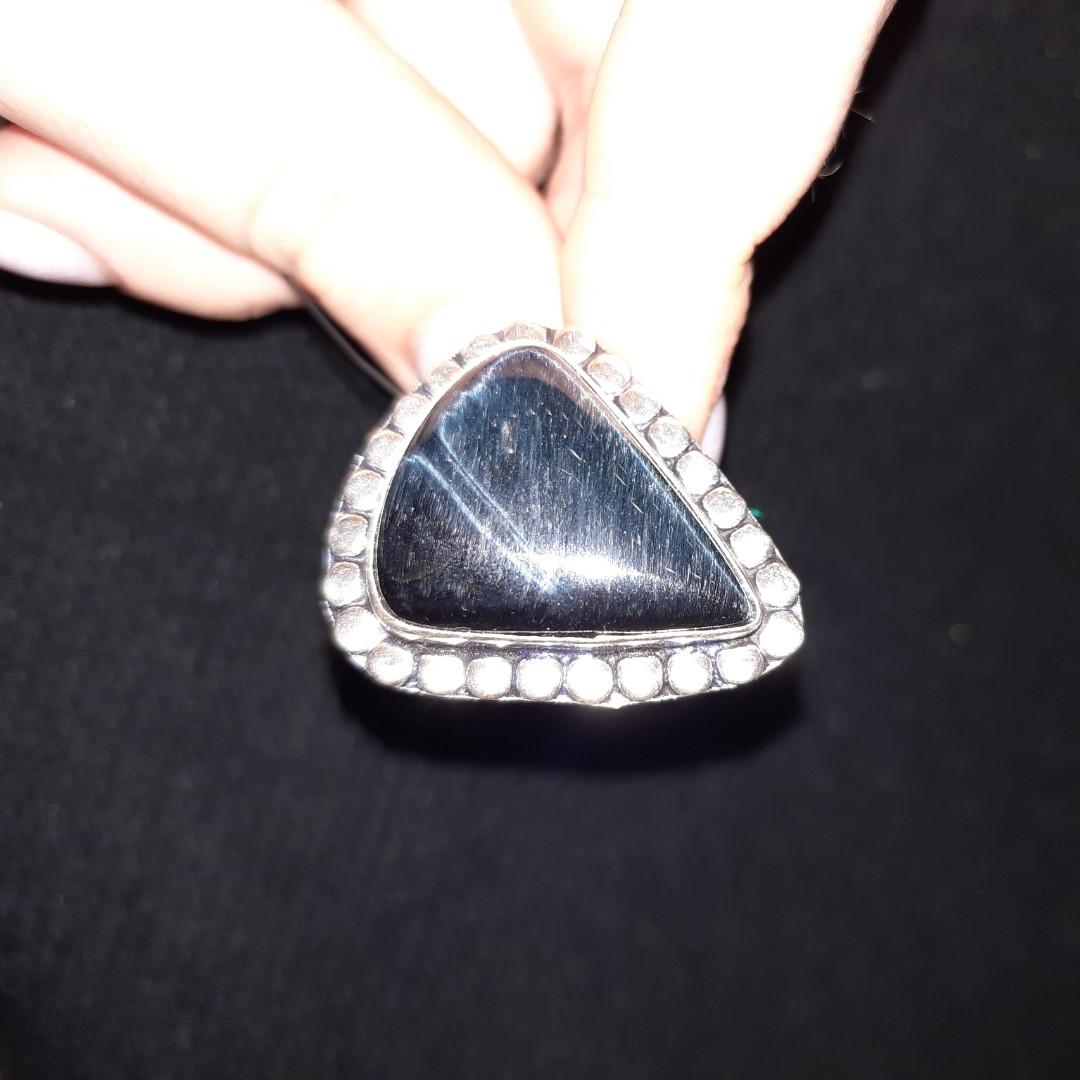 Питерсит соколиный глаз кольцо капля с натуральным питерситом в серебре 19,7 размер Индия
