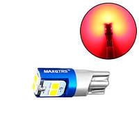 LED W5W T10 лампа в автомобиль, 6 SMD, красный