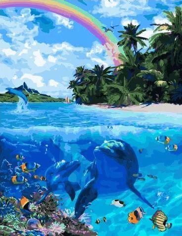 Живопись по номерам Тропический рай GX34403 Rainbow Art 40 х 50 см (без коробки)