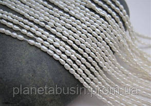 3.5*4.5 мм Жемчуг,  Натуральный камень, бусины, Форма: Рис, Длина: 35 см, фото 2