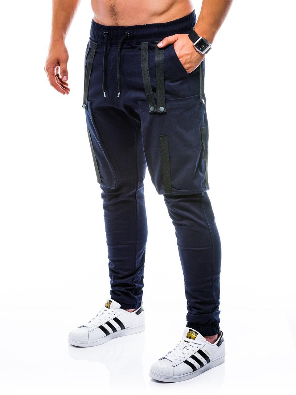 Мужские котоновые синие штаны с боковыми карманами карго на манжетах Ombre