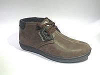Кожаные мужские удобные стильные коричневые зимние ботинки 44р