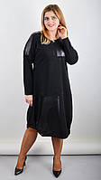 Стильное женское платье большого размера Джаз чёрный 58-60,62-64