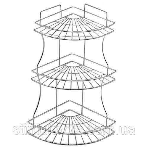 Полка Stenson трехъярусная угловая в ванную 49 см