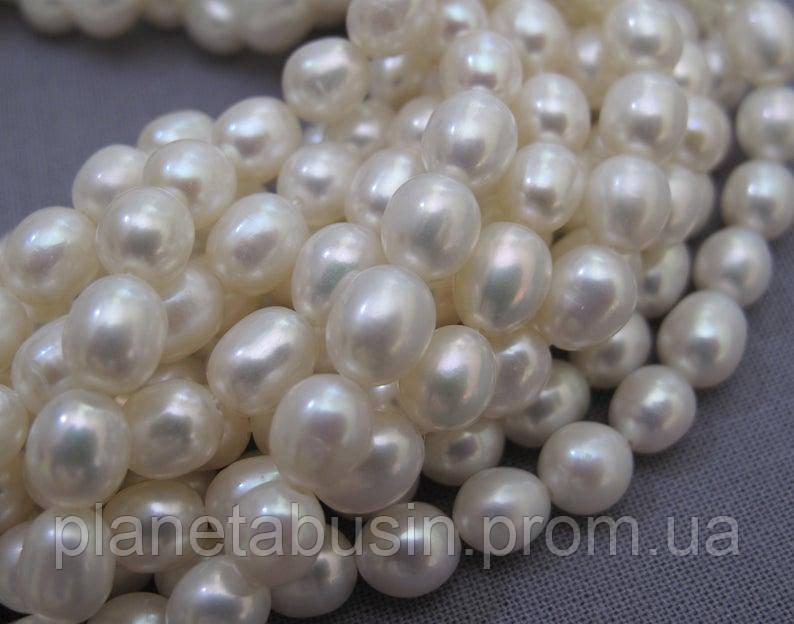 5.5*7.5 мм Жемчуг,  Натуральный камень, бусины, Форма: Рис, Длина: 35 см