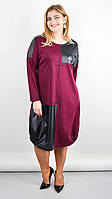 Стильное женское платье большого размера Джаз бордо 58-60,62-64
