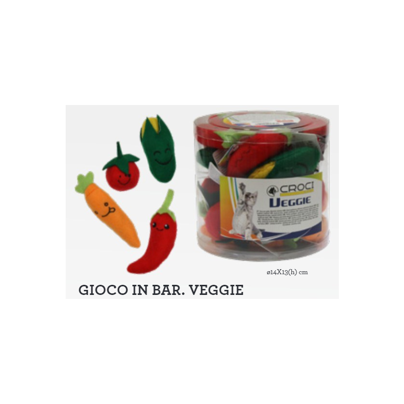 Игрушки для котов овощи ассортимент, мягкие, CROCI, 13 см