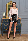 Блузка с открытыми плечами персиковая женская, софт, фото 3