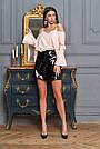 Блузка с открытыми плечами персиковая женская, софт, фото 4