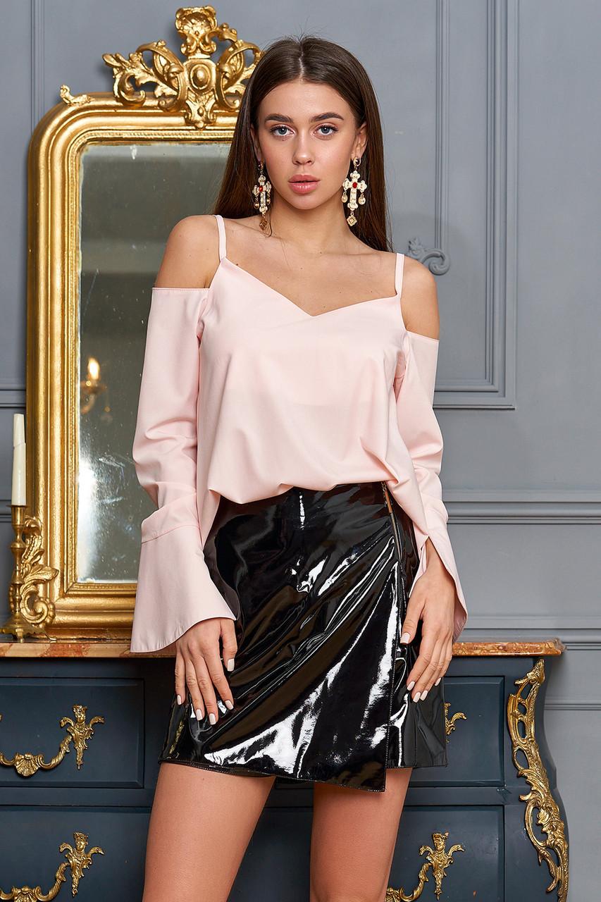 Блузка с открытыми плечами персиковая женская, софт