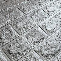 Декоративна 3Д-панель стінова Срібло Цегла (самоклеючі 3d панелі для стін оригінал) 700x770x7 мм