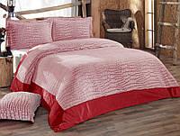 Покрывало 250х270 с наволочками IRYA Stone розовое с красным.