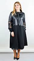 Стильное женское платье плюс сайз Ванесса черный 50-52,54-56