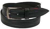 Мужской кожаный ремень под джинсы Skipper 1122-38 черный ДхШ: 123х3,8 см.