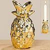 Подсвечник Ананас золотая керамика h10см
