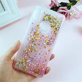 Чехол Glitter для Xiaomi Mi 8 SE Бампер Жидкий блеск звезды Розовый