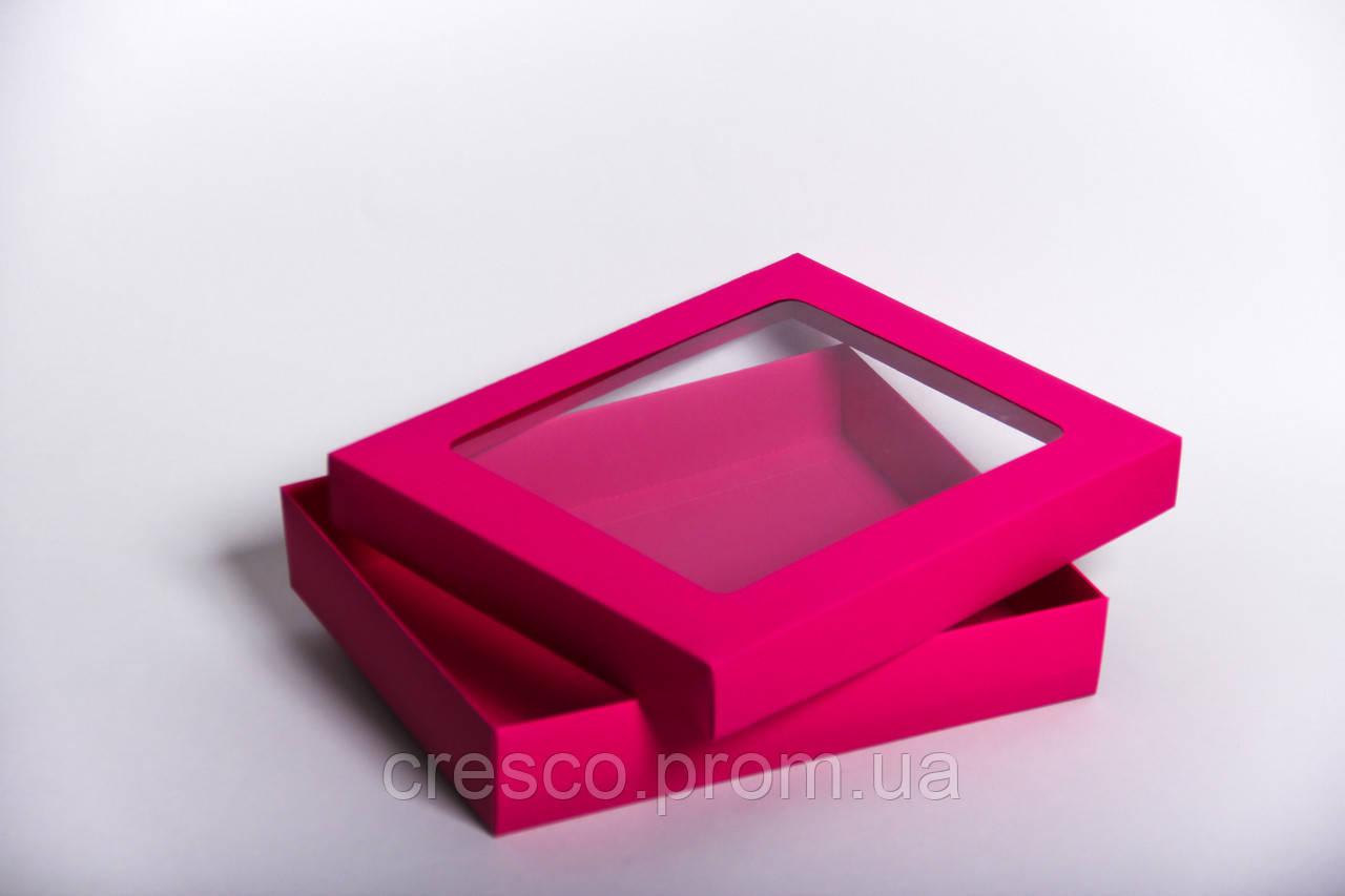 Коробка с крышкой и прозрачным окошком 275*230*50, малиновая