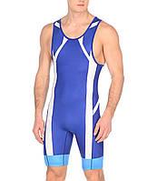 Трико борцовское Asics мужское Wrestling Singlet голубой-белый