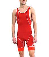Трико борцовское Asics мужское Wrestling Single красно-белое