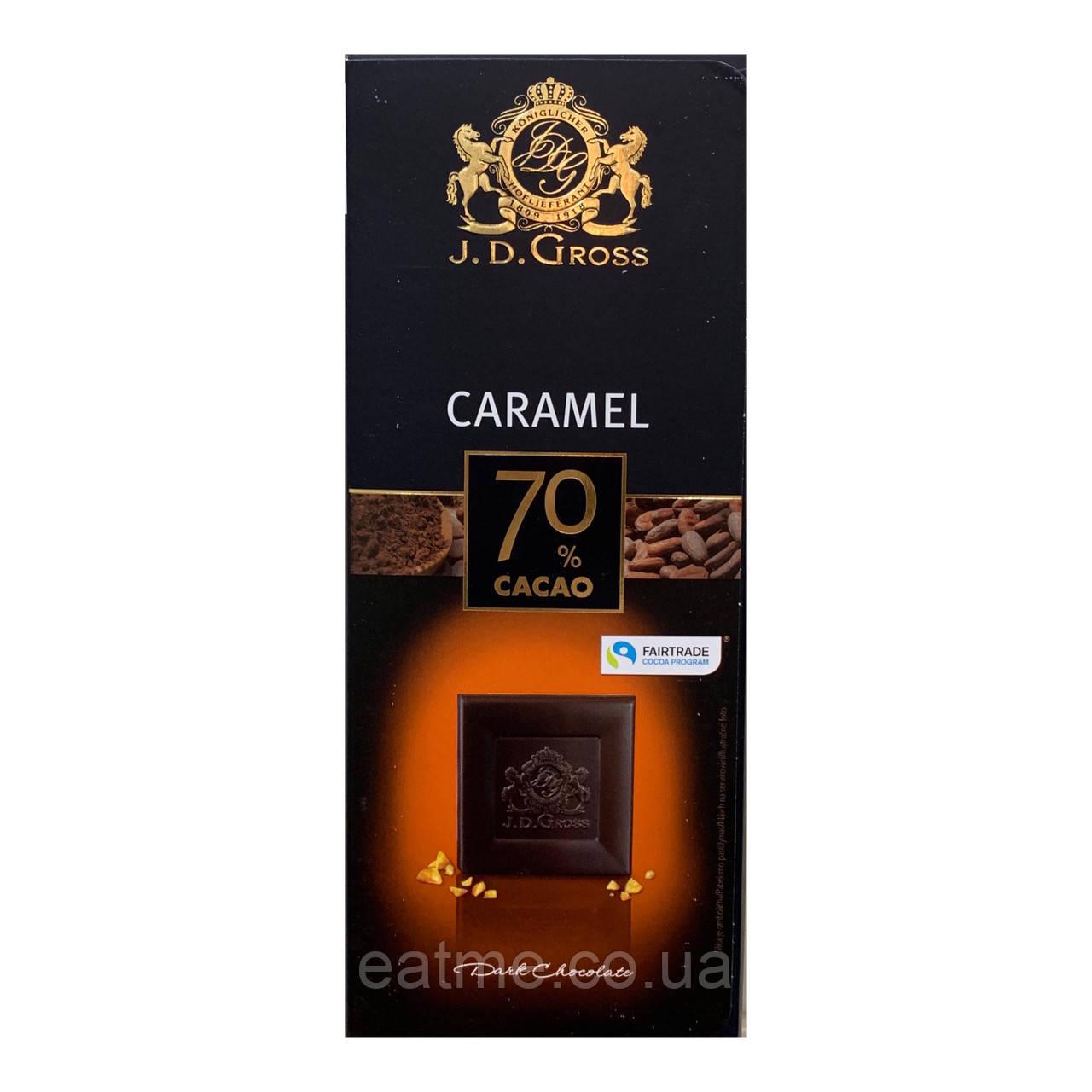 J.D.Gross Чёрный шоколад 70% какао с соленой карамелью