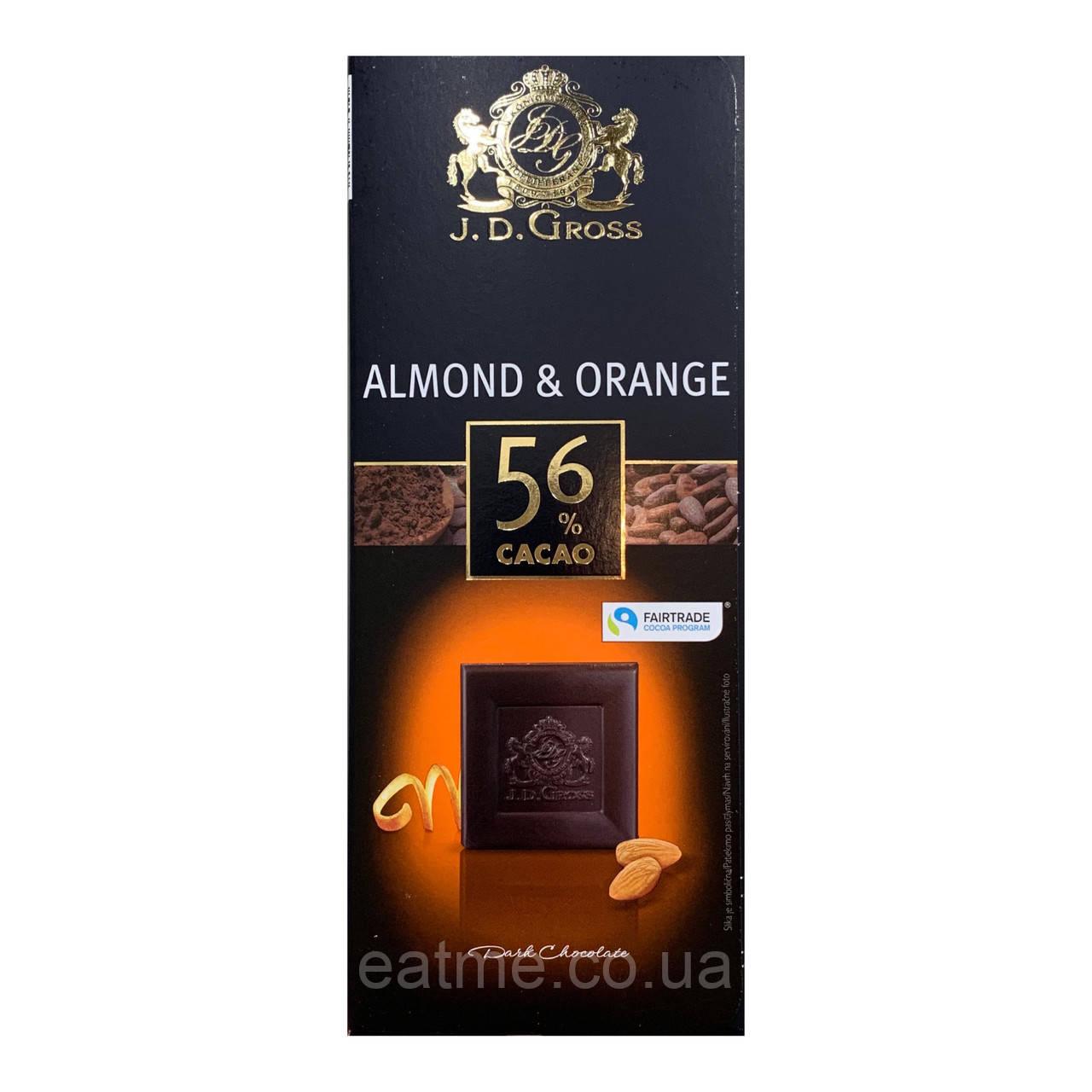 J.D.Gross Темный шоколад 56% какао с апельсином и миндалём