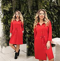 Платье женское с кулиской по талии (6 цветов) ТК/-1237 - Красный, фото 1