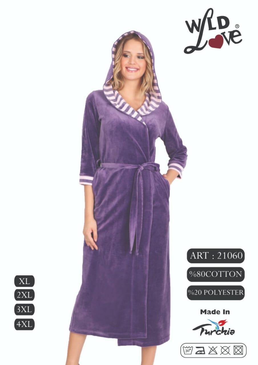 Велюровый  женский халат длинный на запах с капюшоном