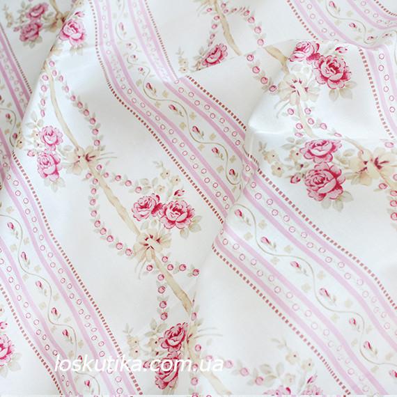 33022 Нежный орнамент шебби. Хлопковые ткани для шитья и рукоделия. Подойдет для пэчворка.