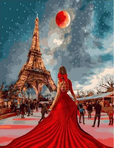 Картина по номерам Девушка в красном GX34410 Rainbow Art 40 х 50 см (без коробки)