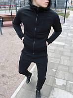 Мужской спортивный костюм весна, осень классический с капюшоном черный Турция. Живое фото
