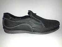 Кожаные мужские черные удобные стильные туфли, мокасины 42р