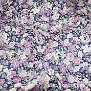 48001 Розовый аромат (сиреневая). Ткани с цветочками для кукол, рукоделия, декора и шитья., фото 3