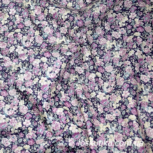 48001 Розовый аромат (сиреневая). Ткани с цветочками для кукол, рукоделия, декора и шитья.