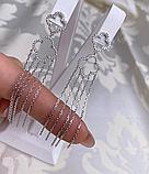 Серебряные длинные  серьги с подвесом Эрта, фото 2