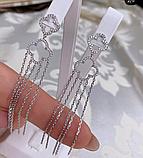 Серебряные длинные  серьги с подвесом Эрта, фото 3