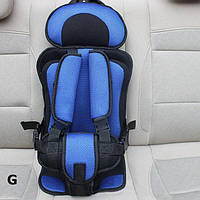 Детское автокресло бескаркасное 9-36 кг. Кресло автомобильное до 12 лет портативное (синее)